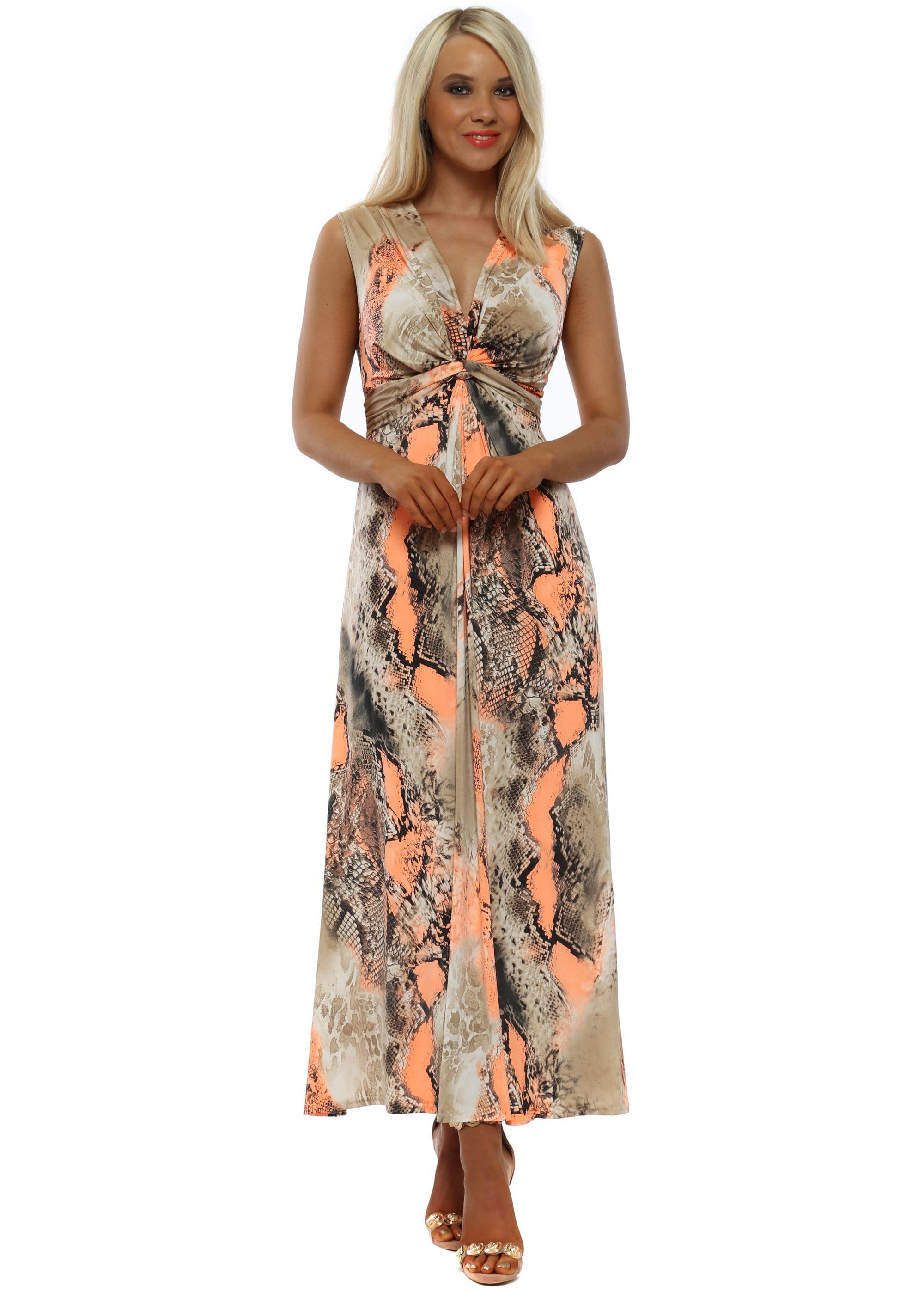 38c367b3e6 Maxi Dress   Neon Orange Print Dress   Designer Desirables