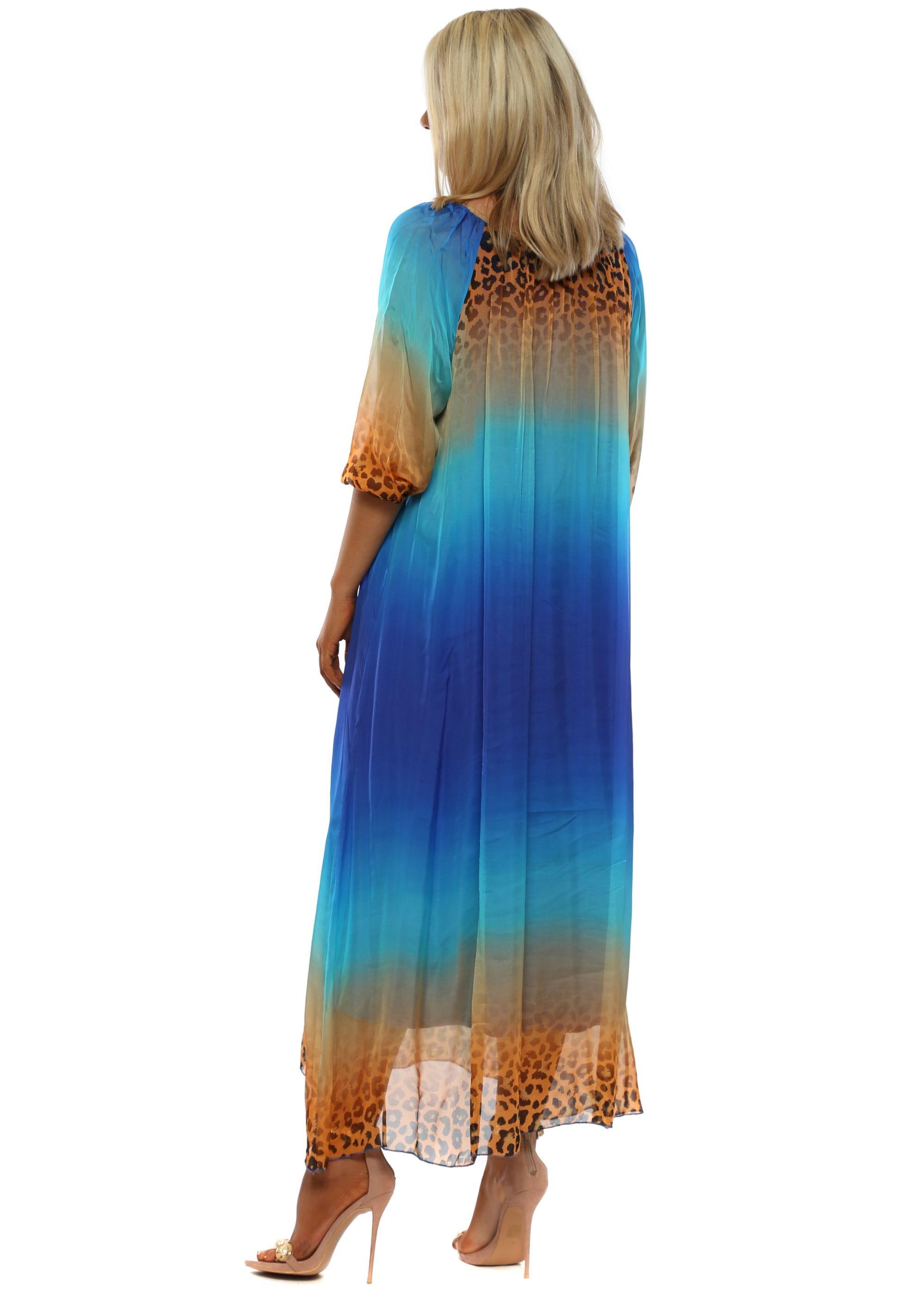 4d959da371c Blue Leopard Print Silk Maxi Dress