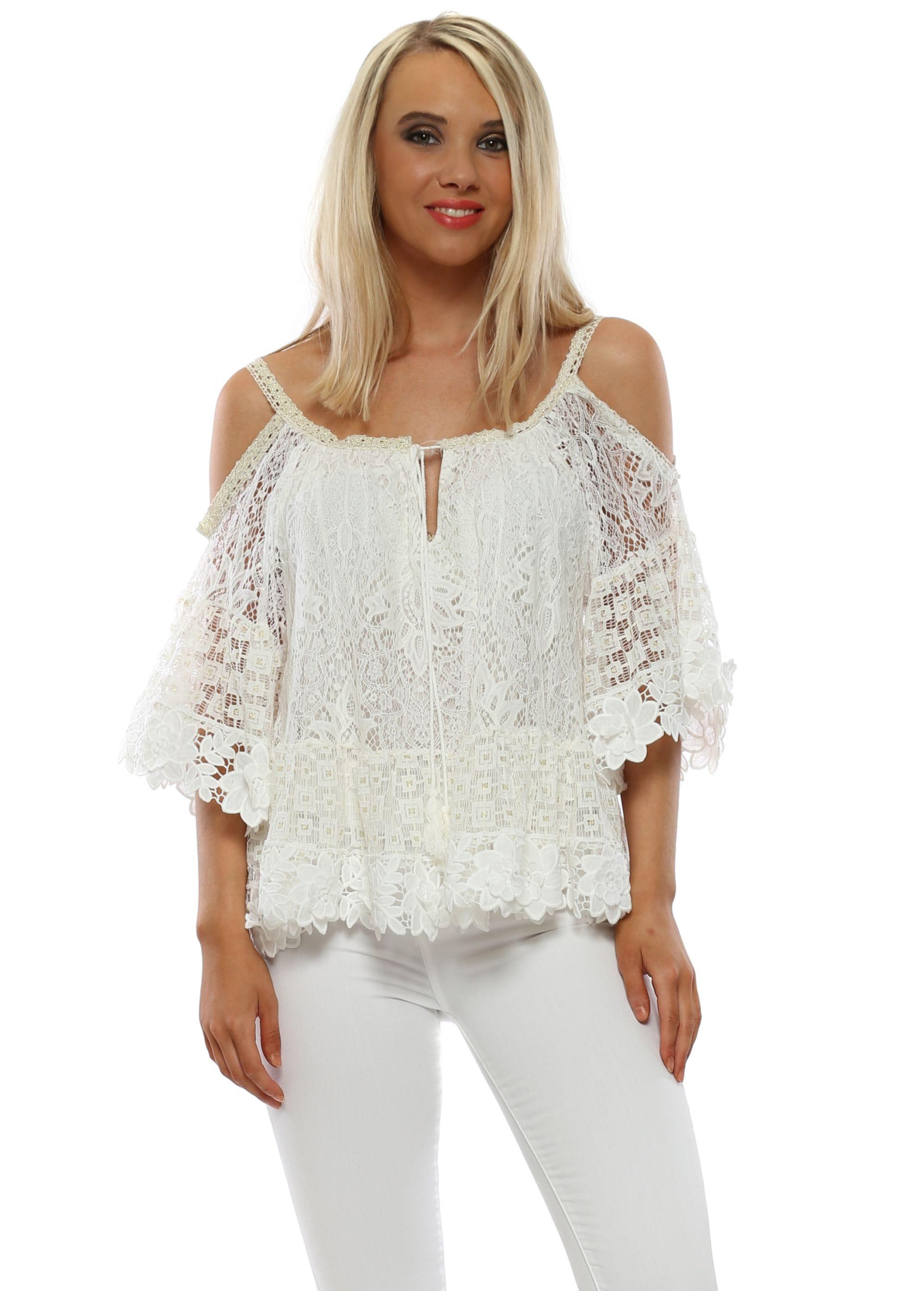 14ce6fb1864 J&L Paris Top | White Cotton Lace Top | Designer Desirables
