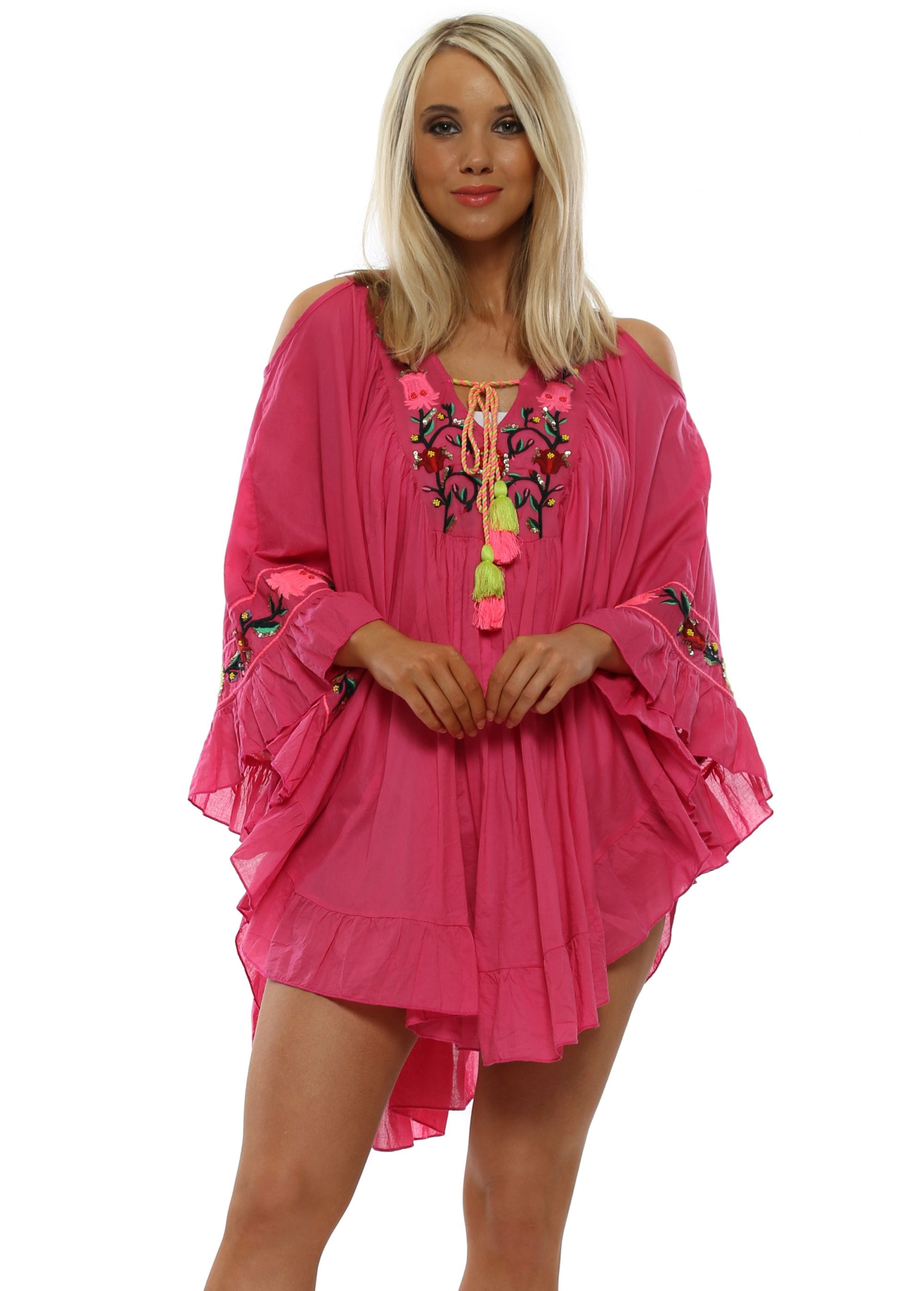 edb0251981 Pink Beach Kaftan Top | Glamorous Beach Tops | Designer Desirables