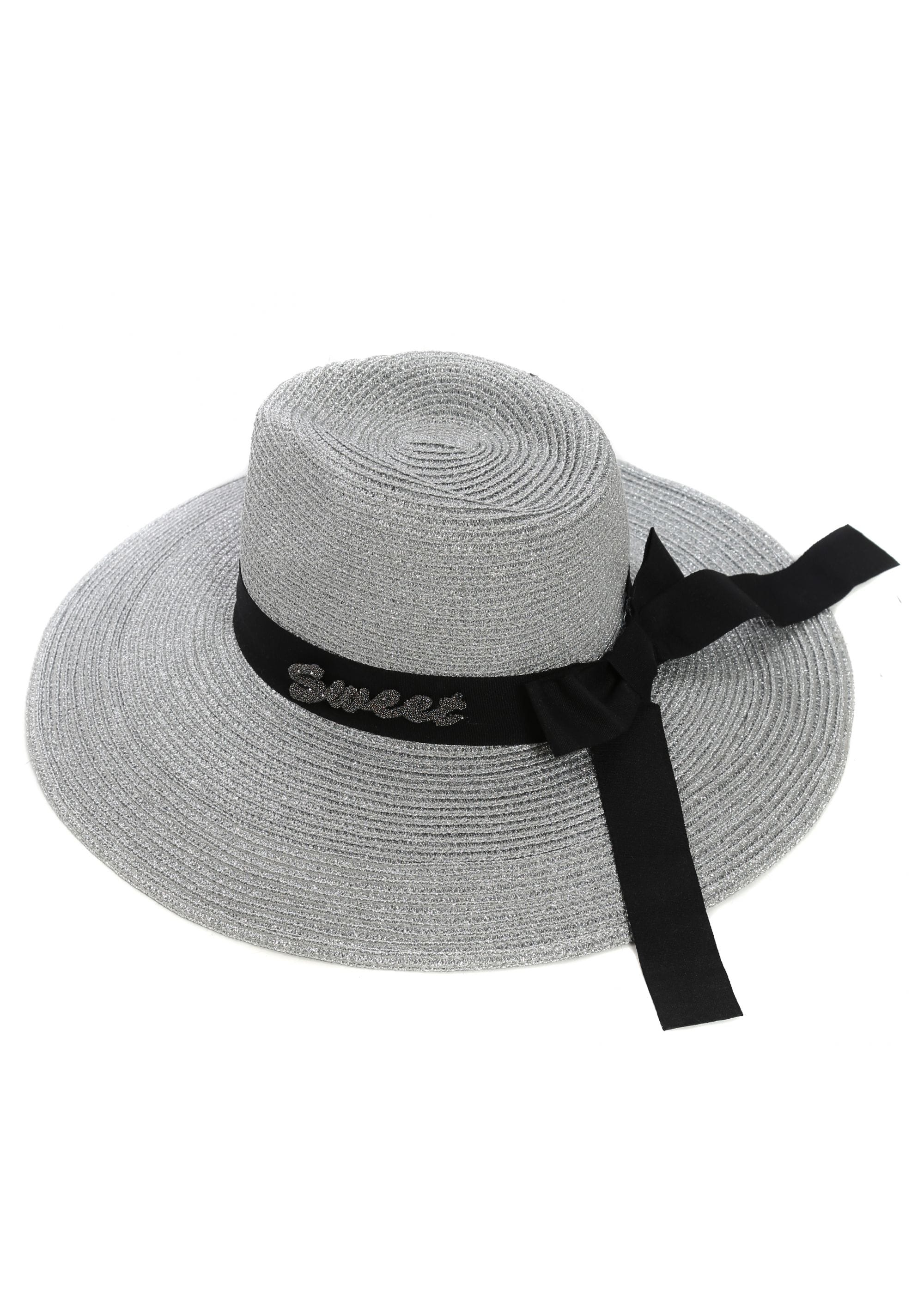 0d0d589b7 French Boutique Silver Straw Black Ribbon Sweet Logo Beach Hat