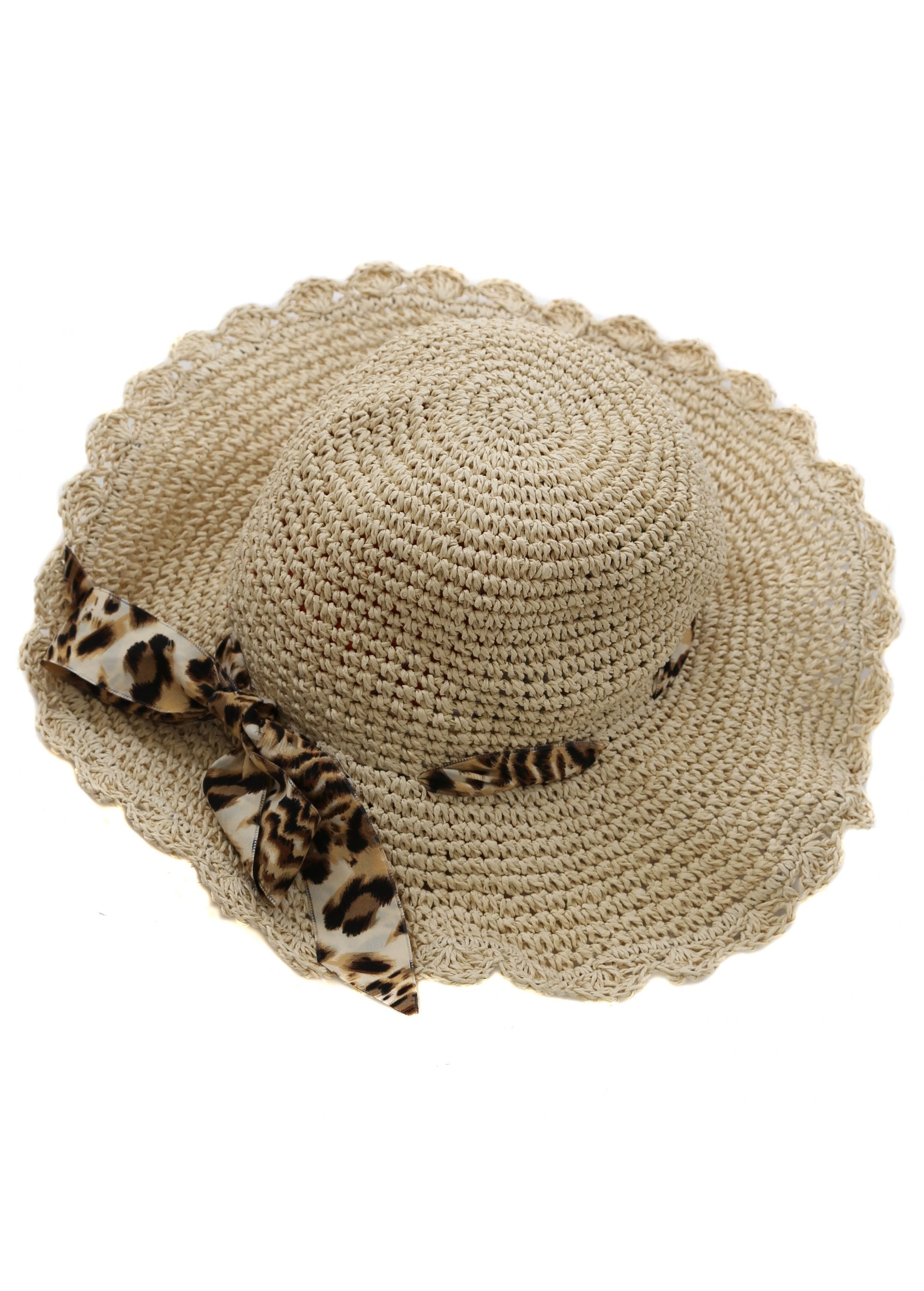 d4260b182 French Boutique Beige Leopard Ribbon Straw Hat