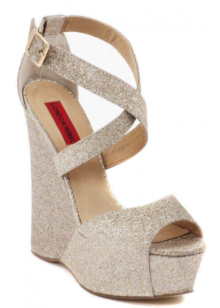 London Rebel Glitter Gold Wedge Sandals