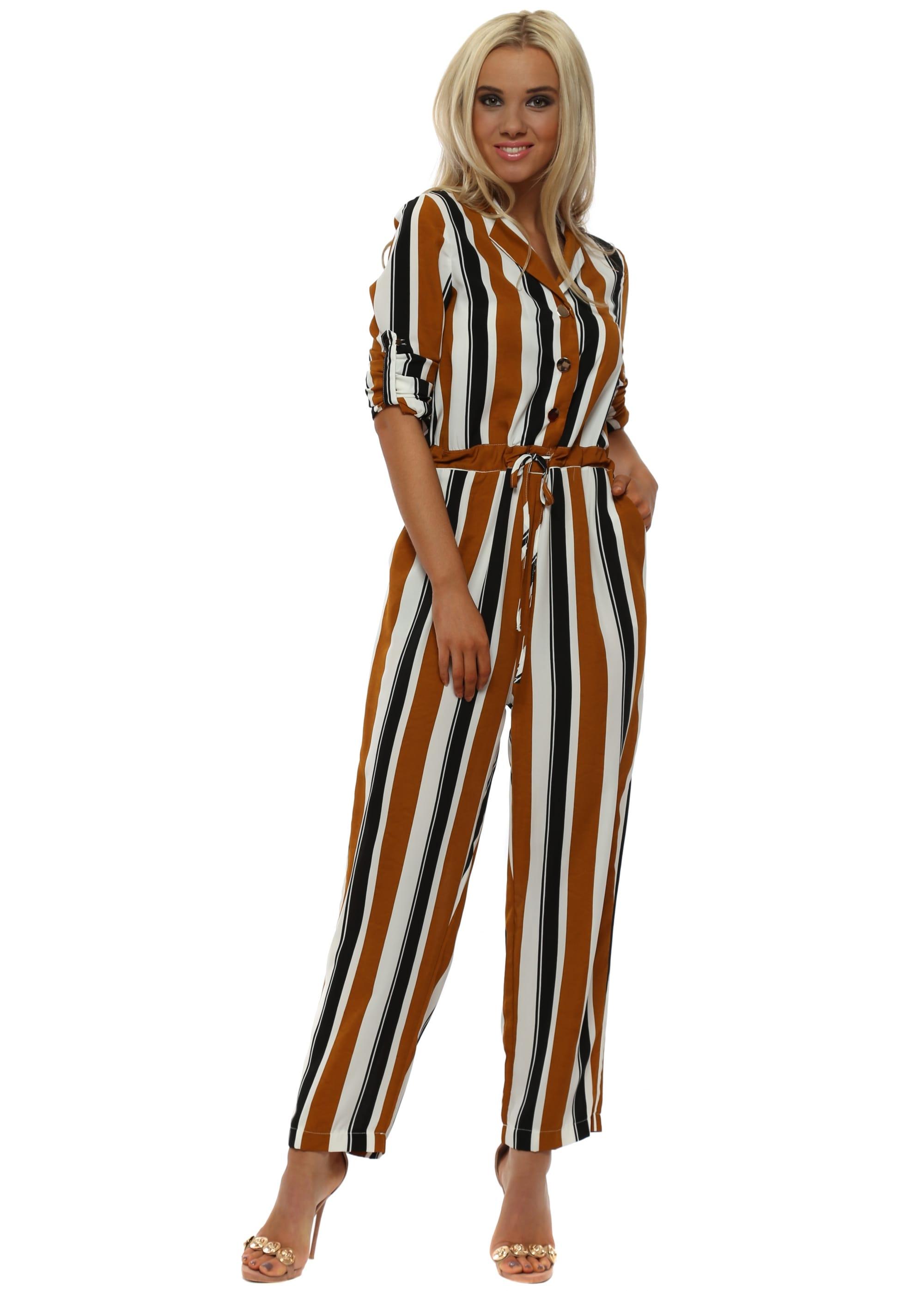 Saylor Eden Stripe Jumpsuit Large in Blue /& White