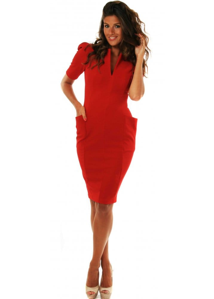 wholesale price fast delivery outlet boutique Diva Trinity Dress Red With Pockets & Exposed Back Zip