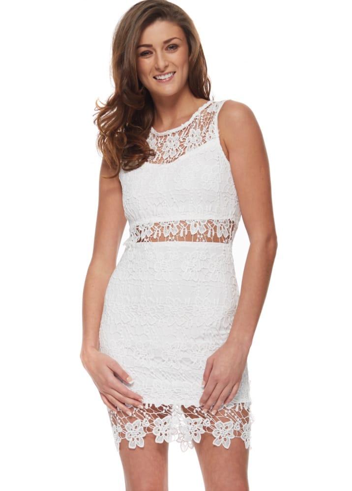 White Sleeveless Crochet Lace Bodycon Dress
