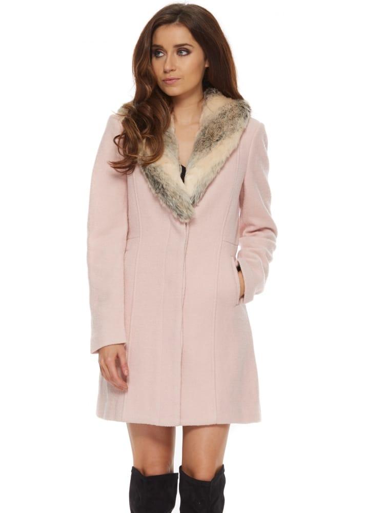 good service limited guantity performance sportswear Bardot Veronika Coat | Baby Pink Fur Collar Coat