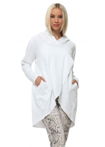 Made In Italy White Wrap Style Hooded Top