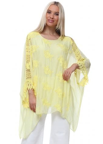 Made In Italy Yellow Floral Embroidered Silk Batwing Top