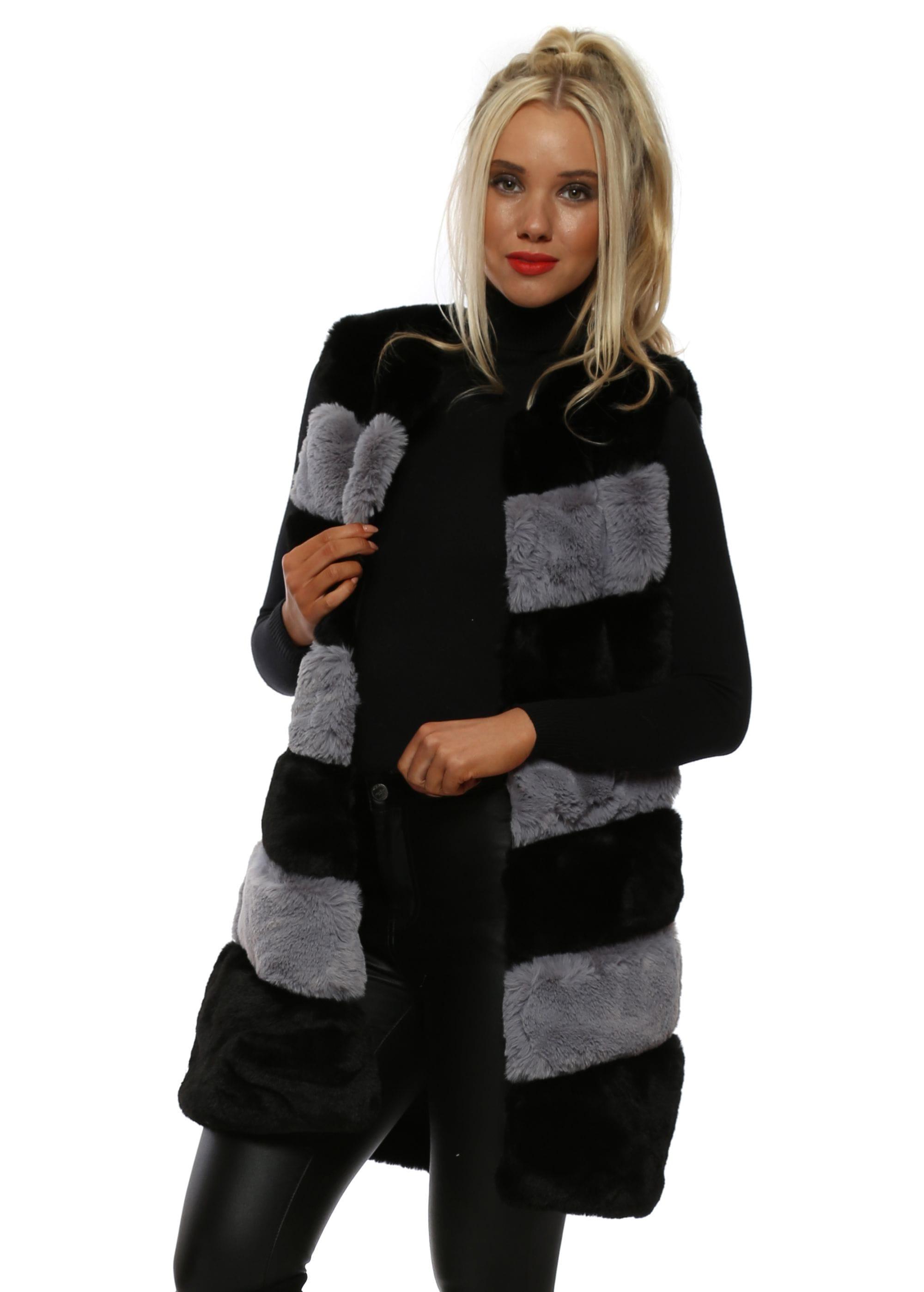 YU/&ME Black Grey /& Red Tiers Faux Fur Gilet